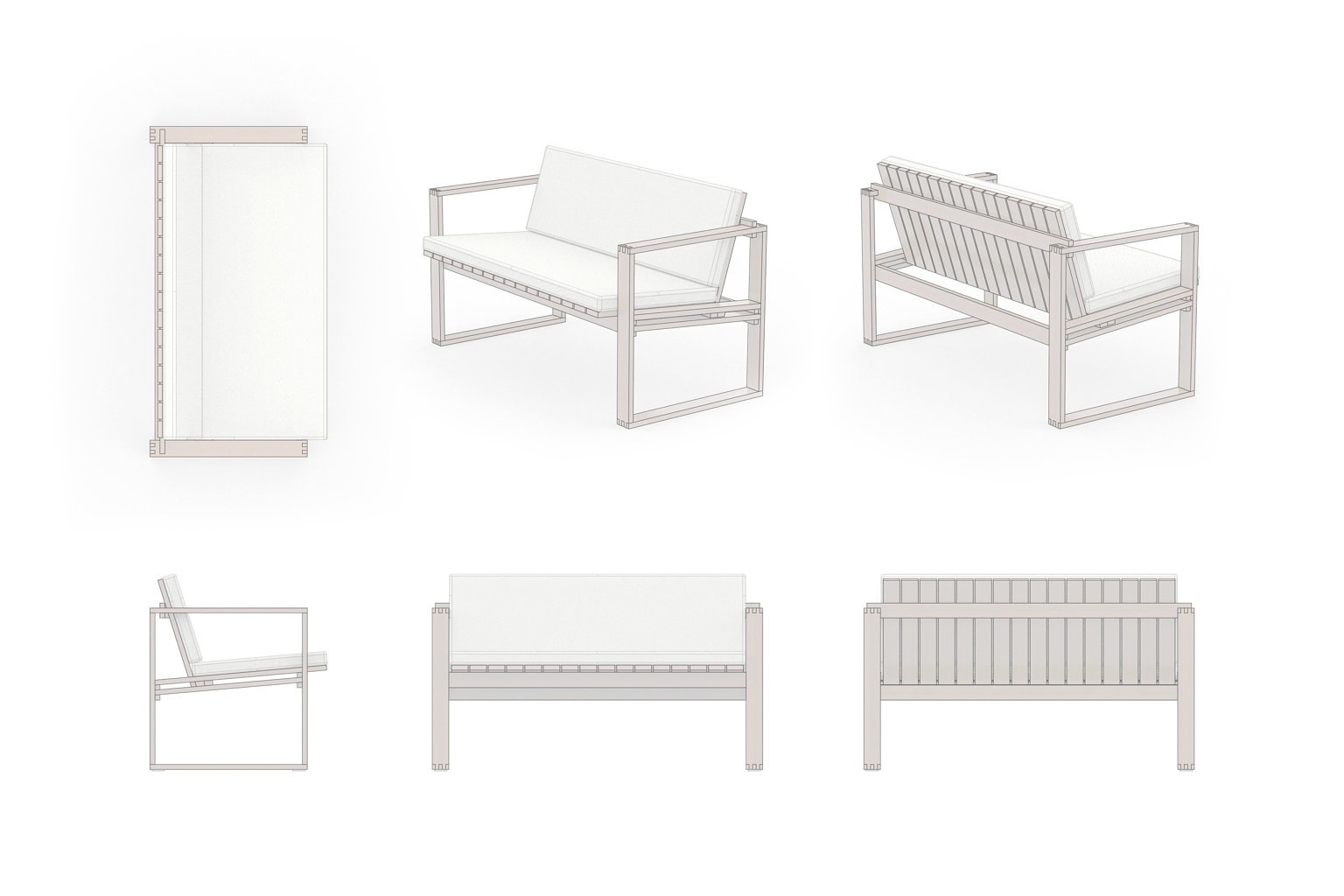 Lounge Set Bank Zeichnung