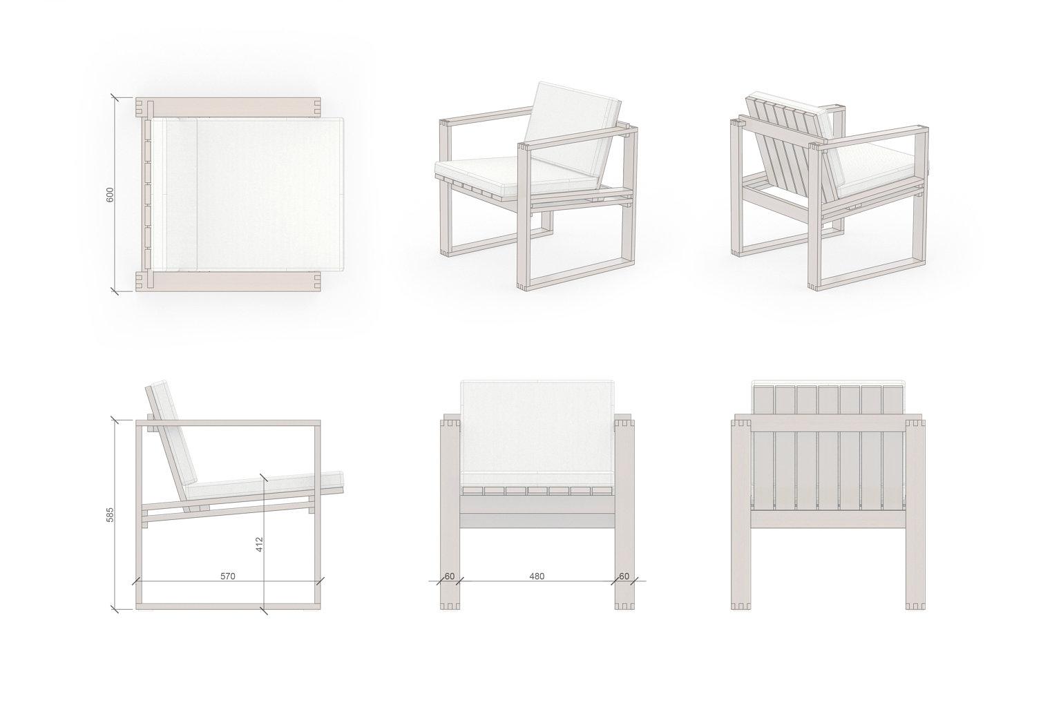 Lounge Set Sessel 1 Zeichnung